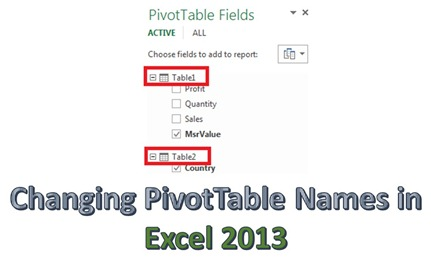 Changing PivotTable Names in Excel 2013 + Bug Alert