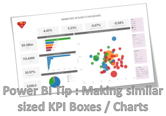 Power BI Tip: Making similar sized KPI Boxes / Charts